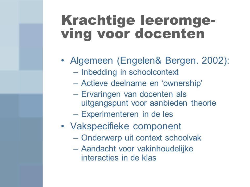 Krachtige leeromge- ving voor docenten Algemeen (Engelen& Bergen. 2002): –Inbedding in schoolcontext –Actieve deelname en 'ownership' –Ervaringen van