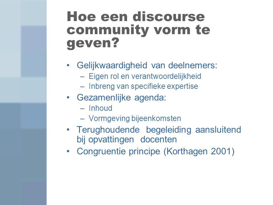 Hoe een discourse community vorm te geven? Gelijkwaardigheid van deelnemers: –Eigen rol en verantwoordelijkheid –Inbreng van specifieke expertise Geza