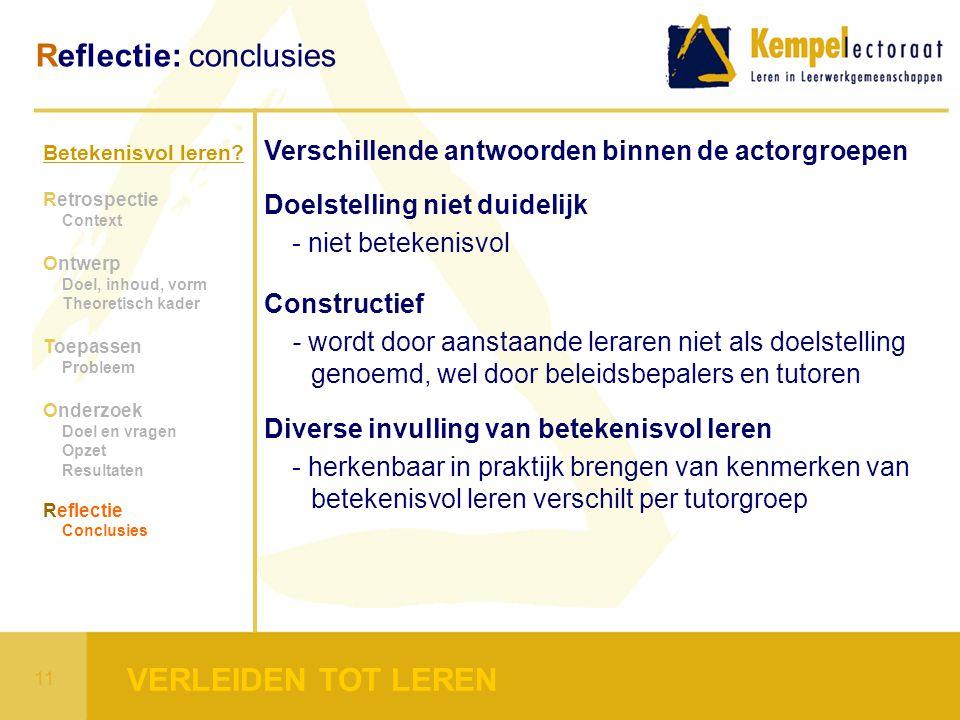 Betekenisvol leren? Retrospectie Context Ontwerp Doel, inhoud, vorm Theoretisch kader Toepassen Probleem Onderzoek Doel en vragen Opzet Resultaten Ref
