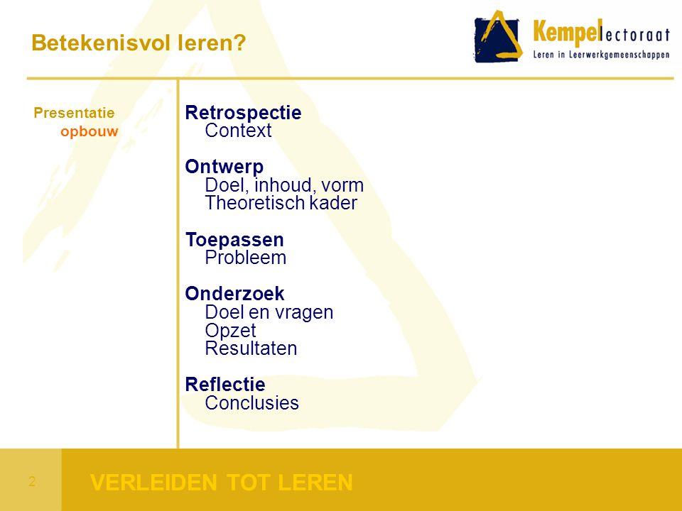 Presentatie opbouw Retrospectie Context Ontwerp Doel, inhoud, vorm Theoretisch kader Toepassen Probleem Onderzoek Doel en vragen Opzet Resultaten Refl