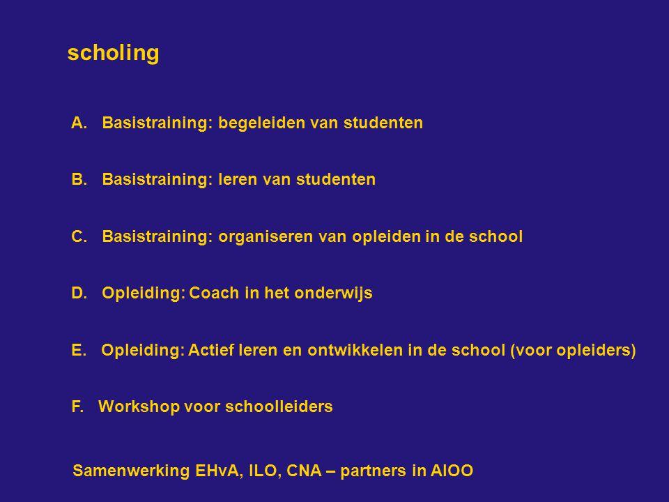 scholing A.Basistraining: begeleiden van studenten B.