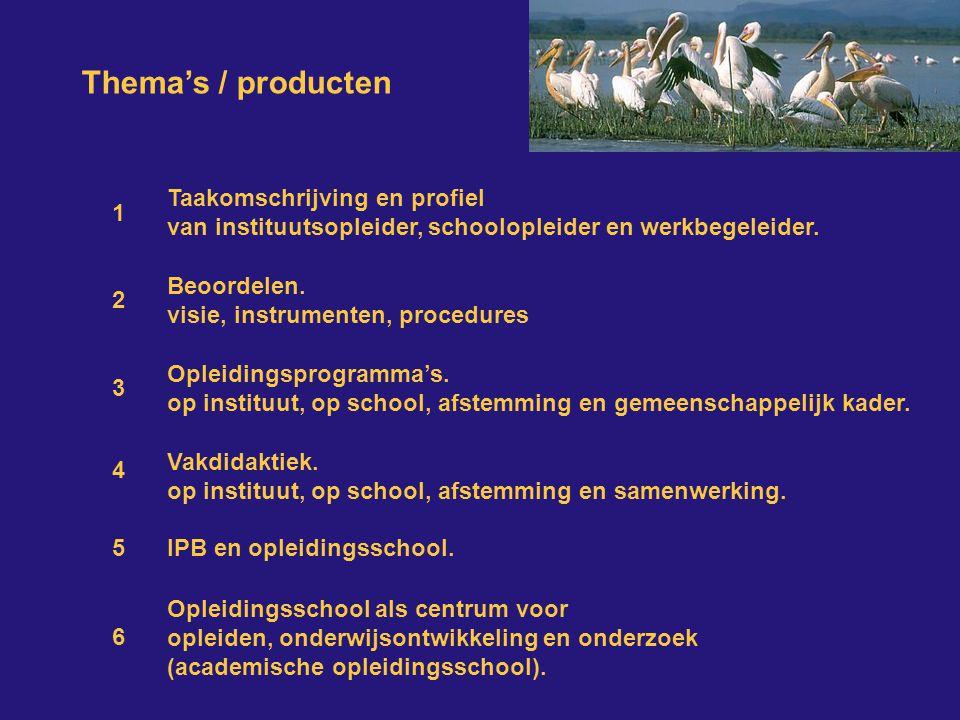 Thema's / producten Taakomschrijving en profiel van instituutsopleider, schoolopleider en werkbegeleider.