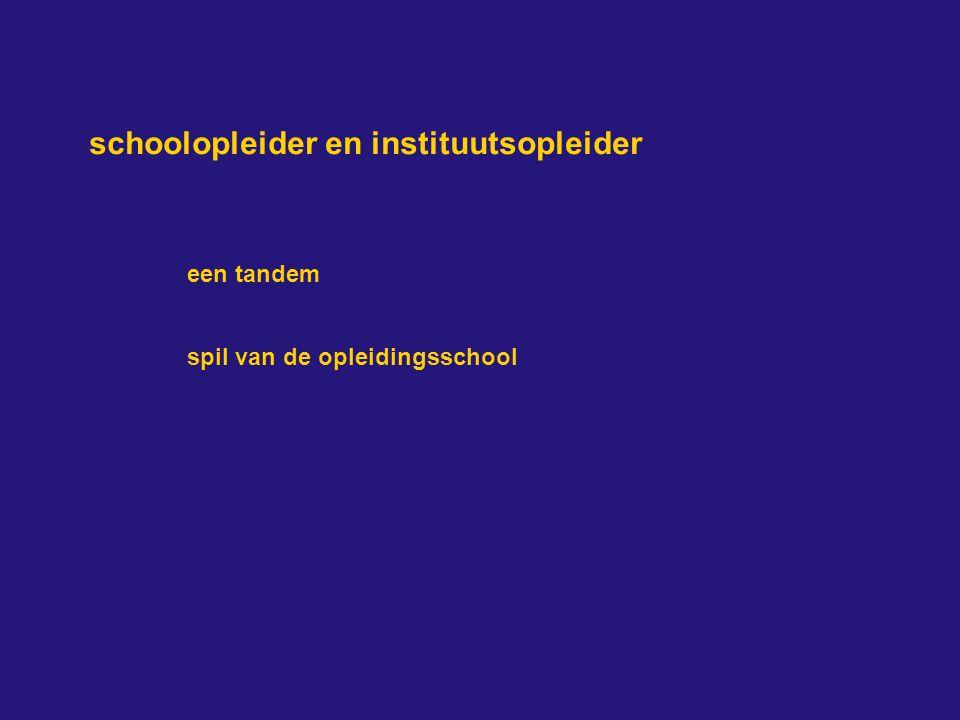schoolopleider en instituutsopleider een tandem spil van de opleidingsschool