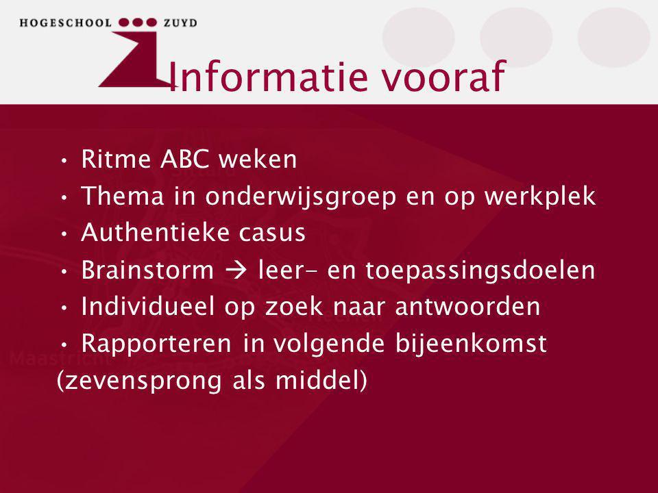 Informatie vooraf Ritme ABC weken Thema in onderwijsgroep en op werkplek Authentieke casus Brainstorm  leer- en toepassingsdoelen Individueel op zoek