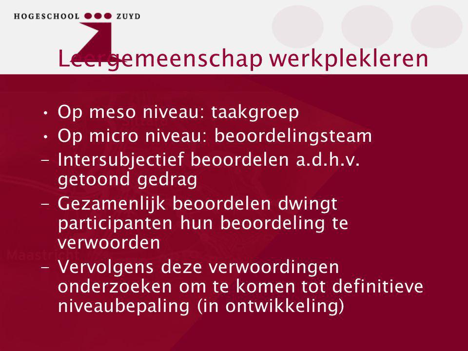 Leergemeenschap werkplekleren Op meso niveau: taakgroep Op micro niveau: beoordelingsteam -Intersubjectief beoordelen a.d.h.v. getoond gedrag -Gezamen