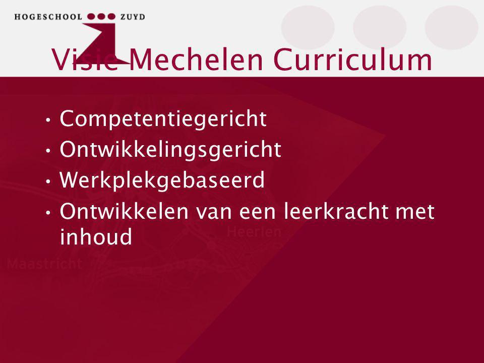 Visie Mechelen Curriculum Competentiegericht Ontwikkelingsgericht Werkplekgebaseerd Ontwikkelen van een leerkracht met inhoud