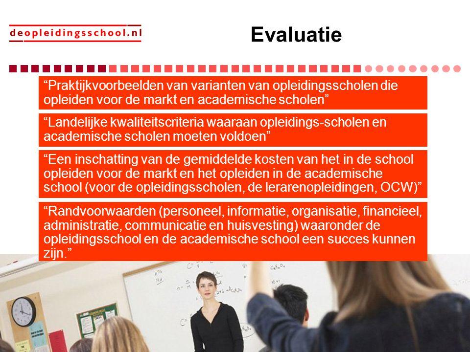"""Evaluatie """"Praktijkvoorbeelden van varianten van opleidingsscholen die opleiden voor de markt en academische scholen"""" """"Landelijke kwaliteitscriteria w"""