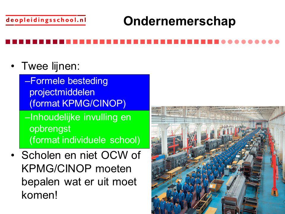 Ondernemerschap Twee lijnen: –Formele besteding projectmiddelen (format KPMG/CINOP) –Inhoudelijke invulling en opbrengst (format individuele school) S