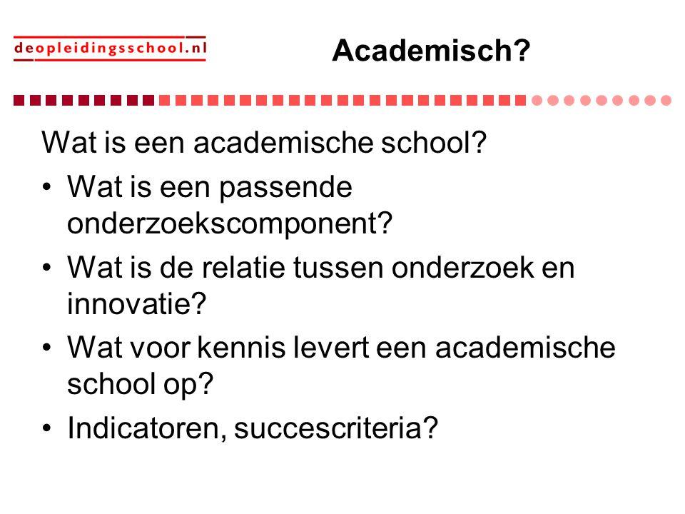 Academisch? Wat is een academische school? Wat is een passende onderzoekscomponent? Wat is de relatie tussen onderzoek en innovatie? Wat voor kennis l
