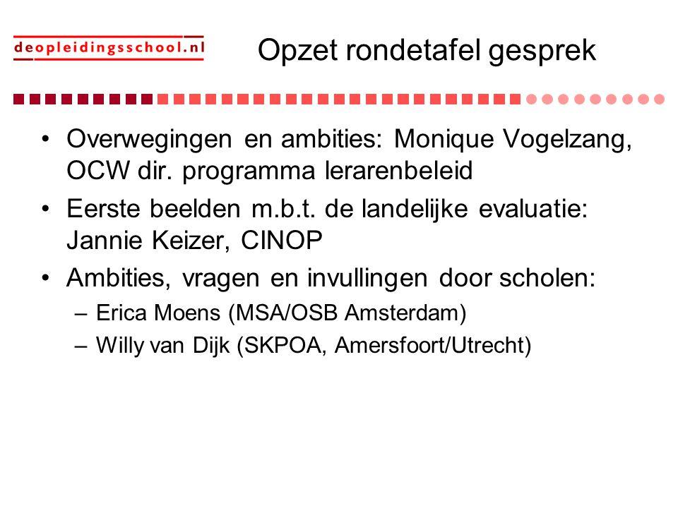 Opzet rondetafel gesprek Overwegingen en ambities: Monique Vogelzang, OCW dir. programma lerarenbeleid Eerste beelden m.b.t. de landelijke evaluatie: