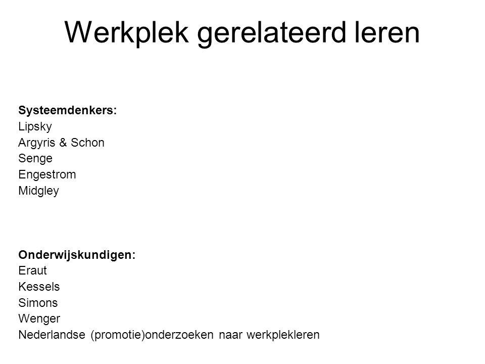 Werkplek gerelateerd leren Systeemdenkers: Lipsky Argyris & Schon Senge Engestrom Midgley Onderwijskundigen: Eraut Kessels Simons Wenger Nederlandse (