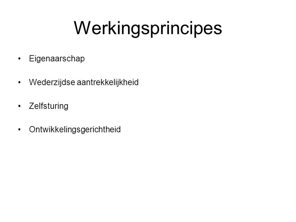 Werkingsprincipes Eigenaarschap Wederzijdse aantrekkelijkheid Zelfsturing Ontwikkelingsgerichtheid