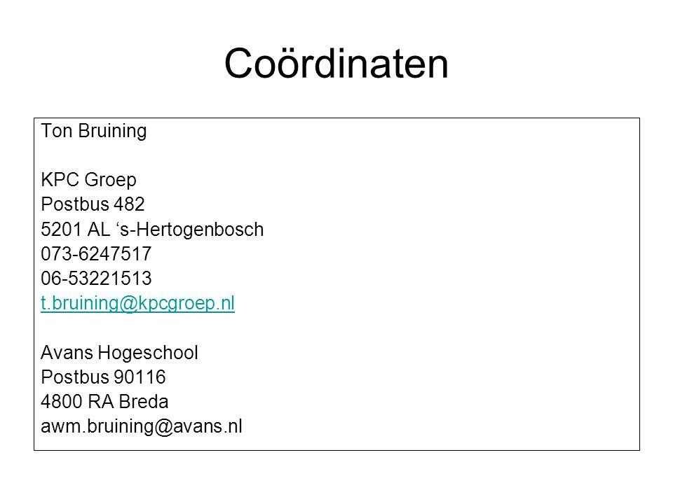 Coördinaten Ton Bruining KPC Groep Postbus 482 5201 AL 's-Hertogenbosch 073-6247517 06-53221513 t.bruining@kpcgroep.nl Avans Hogeschool Postbus 90116