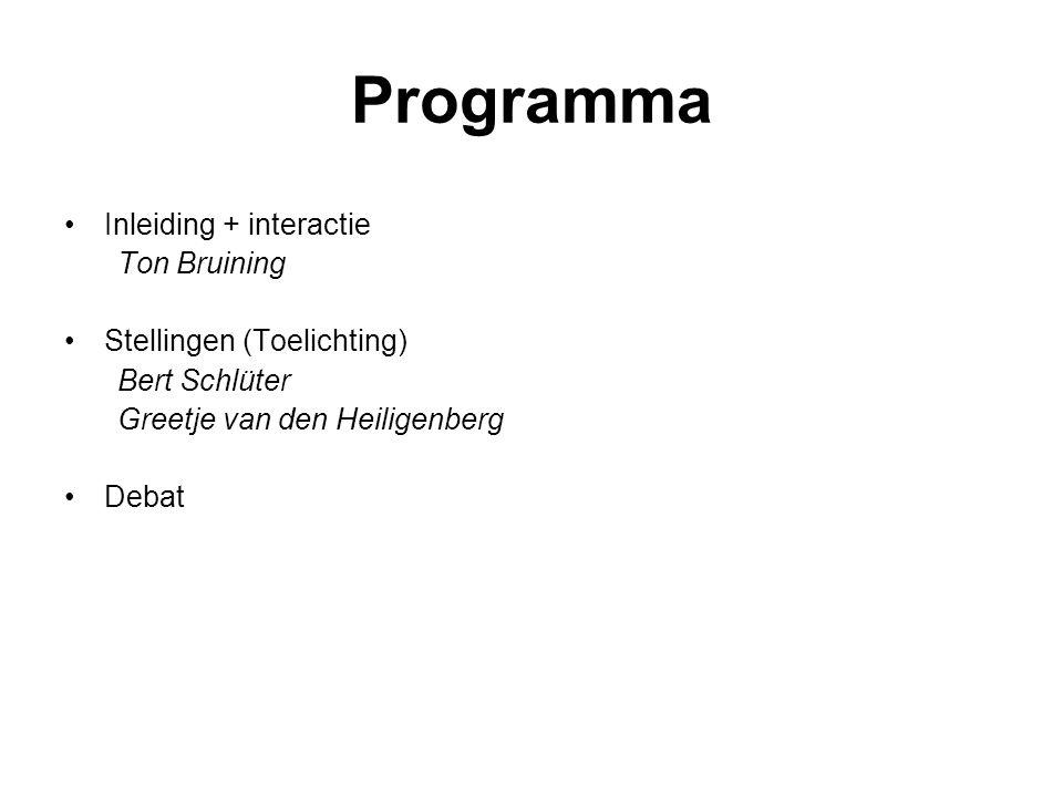 Programma Inleiding + interactie Ton Bruining Stellingen (Toelichting) Bert Schlüter Greetje van den Heiligenberg Debat