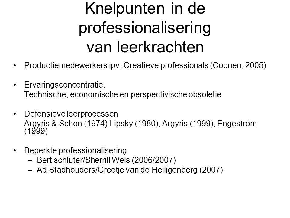 Knelpunten in de professionalisering van leerkrachten Productiemedewerkers ipv. Creatieve professionals (Coonen, 2005) Ervaringsconcentratie, Technisc