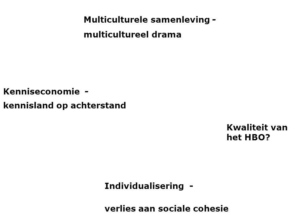 Kenniseconomie - kennisland op achterstand Individualisering - verlies aan sociale cohesie Multiculturele samenleving - multicultureel drama Kwaliteit