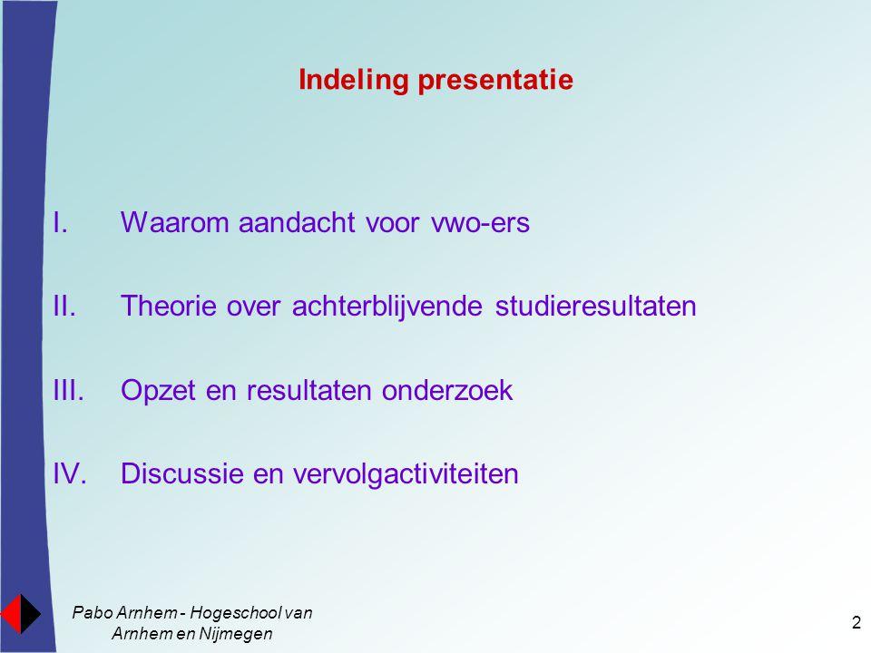 Pabo Arnhem - Hogeschool van Arnhem en Nijmegen 2 Indeling presentatie I.Waarom aandacht voor vwo-ers II.Theorie over achterblijvende studieresultaten