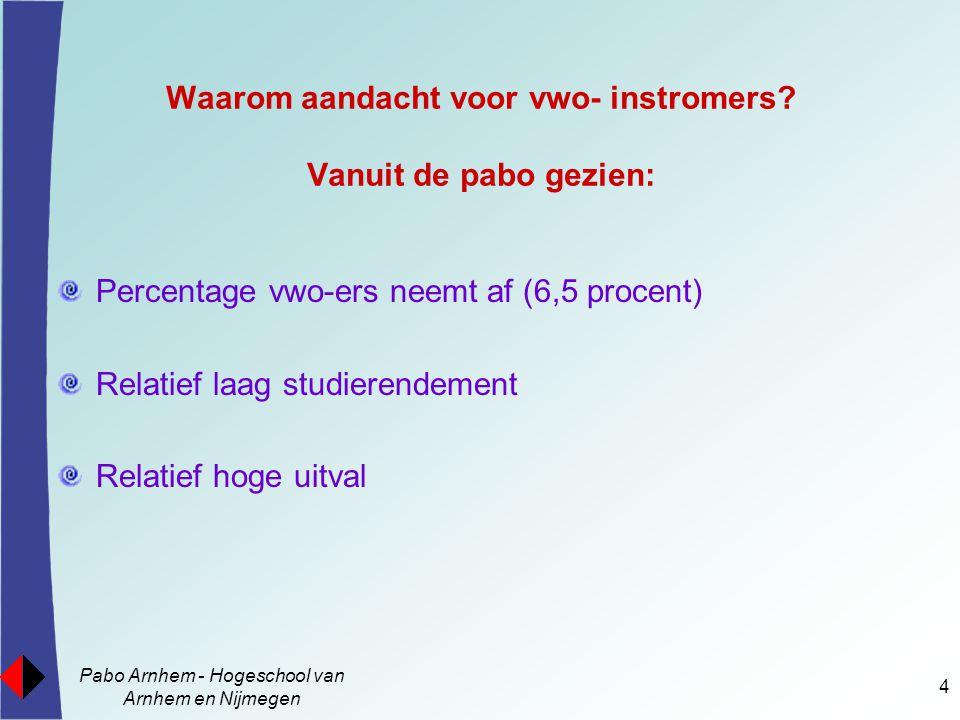 Pabo Arnhem - Hogeschool van Arnhem en Nijmegen 5 Gemiddeld studierendement na vijf jaar van het instroomcohort 1998, 1999 en 2000.