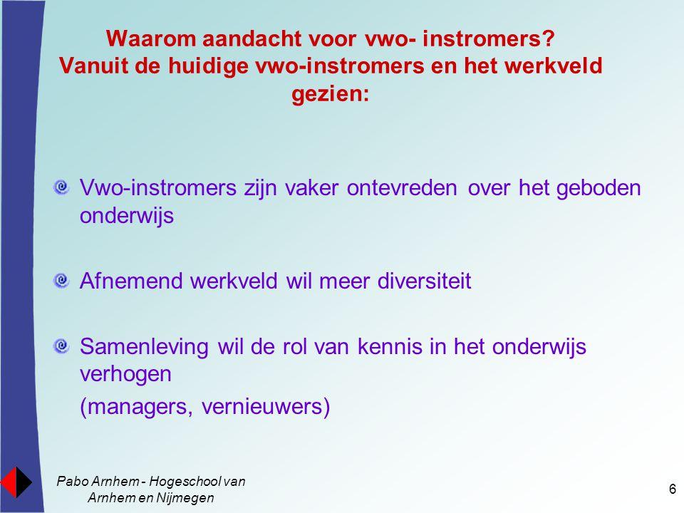 Pabo Arnhem - Hogeschool van Arnhem en Nijmegen 17 Waardering onderwijsactiviteiten-2 wel - gewaardeerde activiteiten Sub- groepen Vwo-ersGroep-1Groep-2 Bruikbare informatie ontvangen 15 x56 x65 x Oefenen beroepsvaardigheden 6 x9x6x Ervaringen uitwisselen16 x31 x23 x Sfeerbevorderende activiteiten 13 x3 x7 x Totaal aantal uitspraken5099101