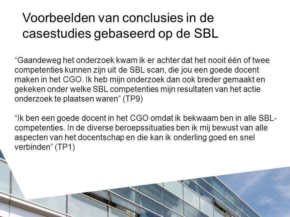 Gaandeweg het onderzoek kwam ik er achter dat het nooit één of twee competenties kunnen zijn uit de SBL scan, die jou een goede docent maken in het CGO.