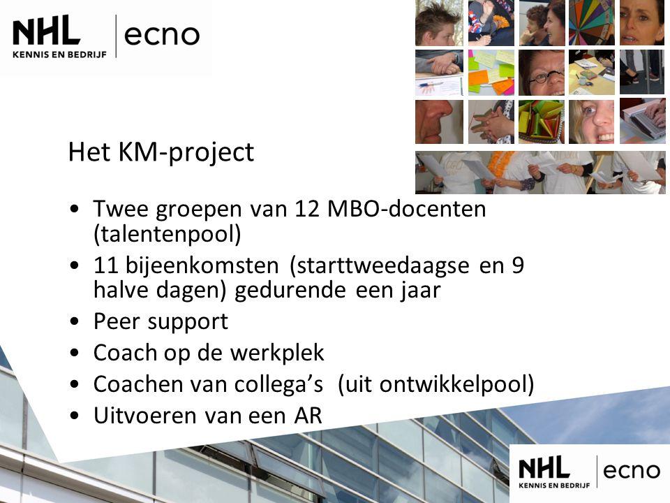 Het KM-project Twee groepen van 12 MBO-docenten (talentenpool) 11 bijeenkomsten (starttweedaagse en 9 halve dagen) gedurende een jaar Peer support Coach op de werkplek Coachen van collega's (uit ontwikkelpool) Uitvoeren van een AR