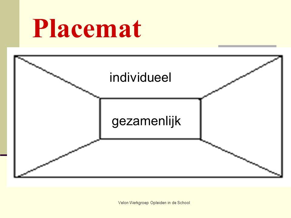 Velon Werkgroep Opleiden in de School individueel gezamenlijk Placemat