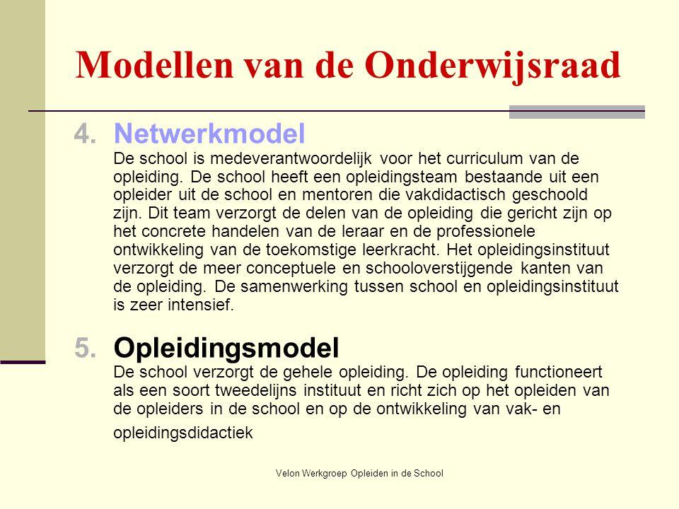 Velon Werkgroep Opleiden in de School Modellen van de Onderwijsraad 4.Netwerkmodel De school is medeverantwoordelijk voor het curriculum van de opleid