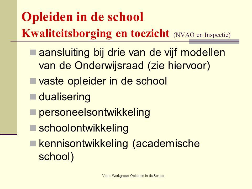 Velon Werkgroep Opleiden in de School Opleiden in de school Kwaliteitsborging en toezicht (NVAO en Inspectie) aansluiting bij drie van de vijf modelle