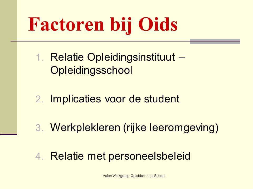 Velon Werkgroep Opleiden in de School Factoren bij Oids 1. Relatie Opleidingsinstituut – Opleidingsschool 2. Implicaties voor de student 3. Werkplekle