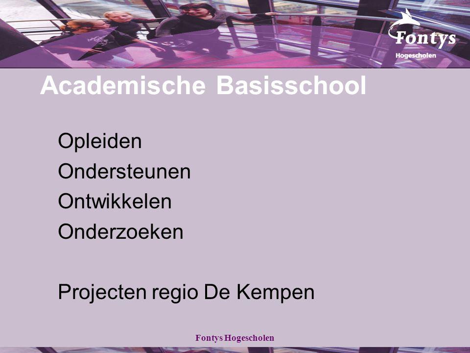 Fontys Hogescholen Academische Basisschool Opleiden Ondersteunen Ontwikkelen Onderzoeken Projecten regio De Kempen