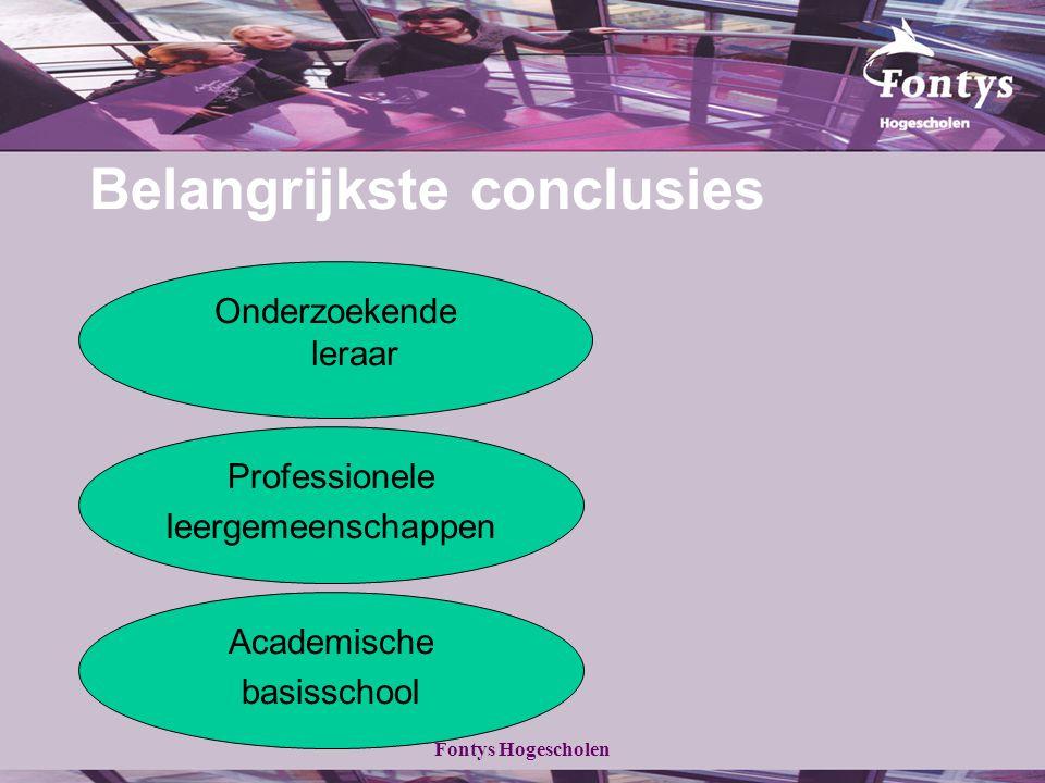 Fontys Hogescholen Belangrijkste conclusies Onderzoekende leraar Professionele leergemeenschappen Academische basisschool