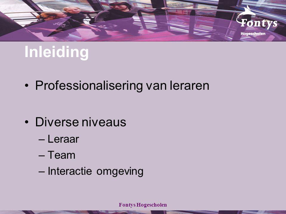 Fontys Hogescholen Inleiding Professionalisering van leraren Diverse niveaus –Leraar –Team –Interactie omgeving