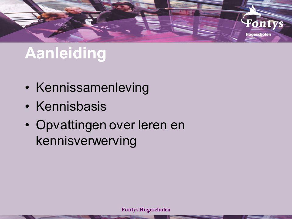 Fontys Hogescholen Aanleiding Kennissamenleving Kennisbasis Opvattingen over leren en kennisverwerving