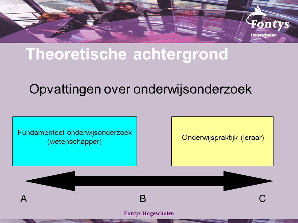 Fontys Hogescholen Theoretische achtergrond Opvattingen over onderwijsonderzoek Fundamenteel onderwijsonderzoek (wetenschapper) Onderwijspraktijk (ler