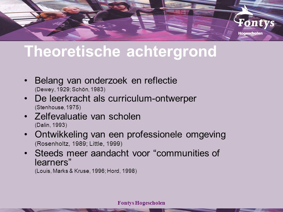Fontys Hogescholen Theoretische achtergrond Belang van onderzoek en reflectie (Dewey, 1929; Schön, 1983) De leerkracht als curriculum-ontwerper (Stenh