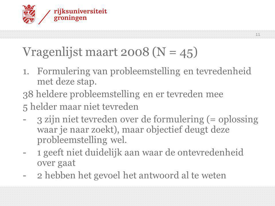 11 Vragenlijst maart 2008 (N = 45) 1.Formulering van probleemstelling en tevredenheid met deze stap.