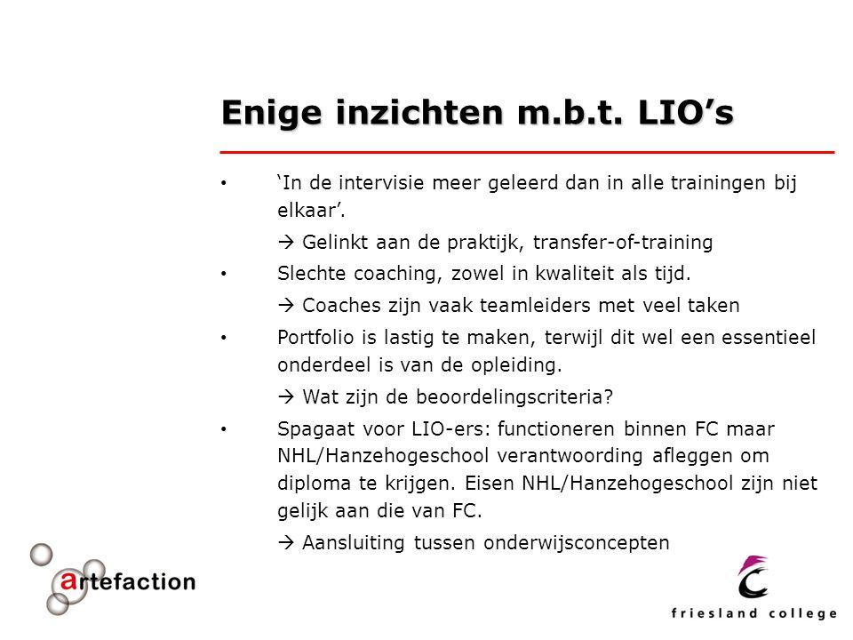 Enige inzichten m.b.t. LIO's 'In de intervisie meer geleerd dan in alle trainingen bij elkaar'.  Gelinkt aan de praktijk, transfer-of-training Slecht