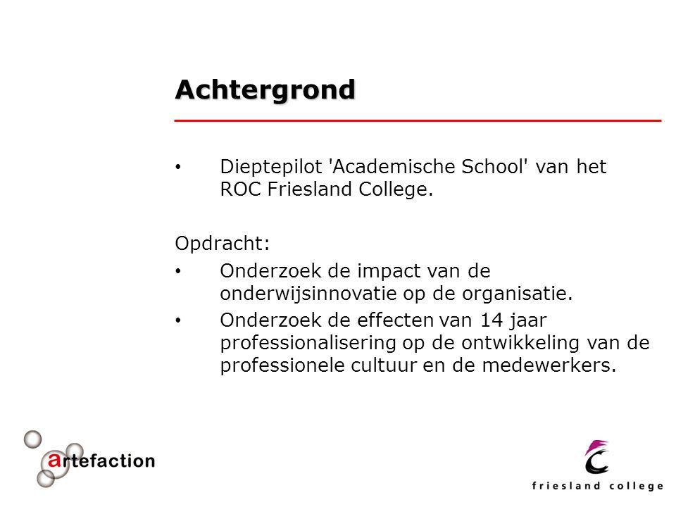 Achtergrond Dieptepilot 'Academische School' van het ROC Friesland College. Opdracht: Onderzoek de impact van de onderwijsinnovatie op de organisatie.