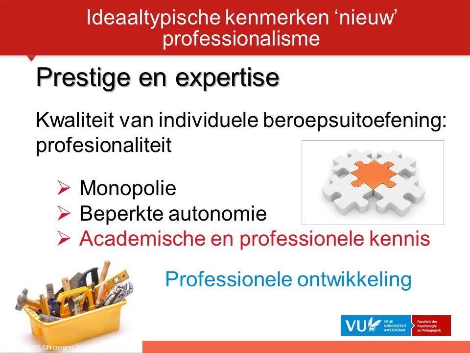 Prestige en expertise Kwaliteit van individuele beroepsuitoefening: profesionaliteit Ideaaltypische kenmerken 'nieuw' professionalisme  Monopolie  B