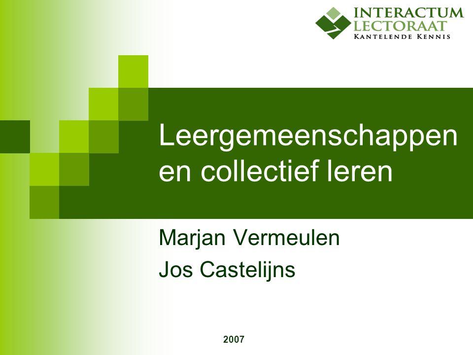 2007 Leergemeenschappen en collectief leren Marjan Vermeulen Jos Castelijns