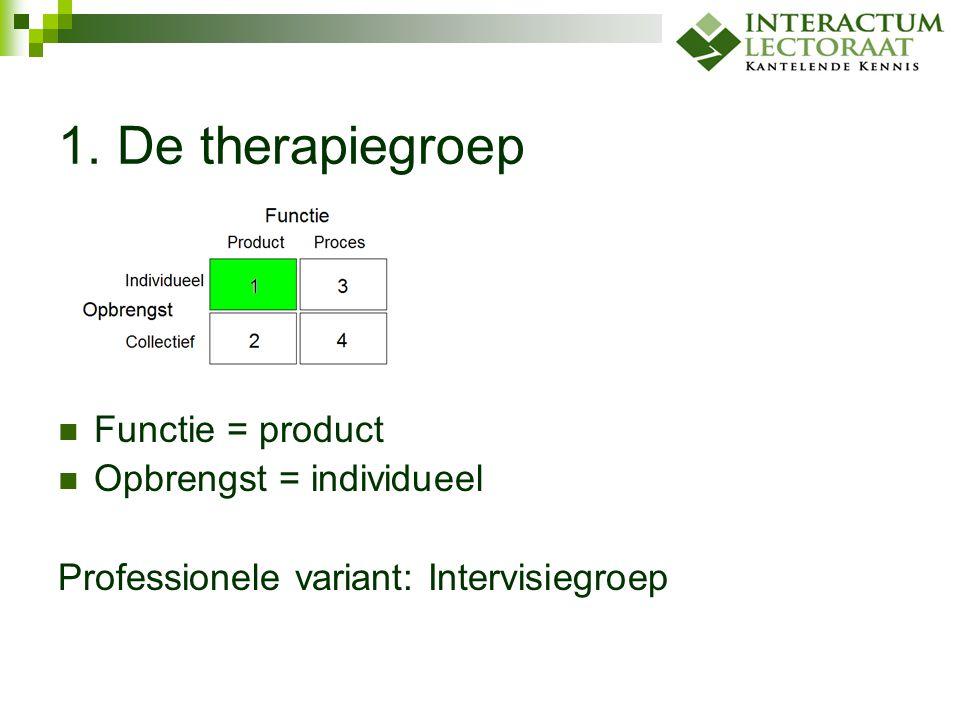 1. De therapiegroep Functie = product Opbrengst = individueel Professionele variant: Intervisiegroep