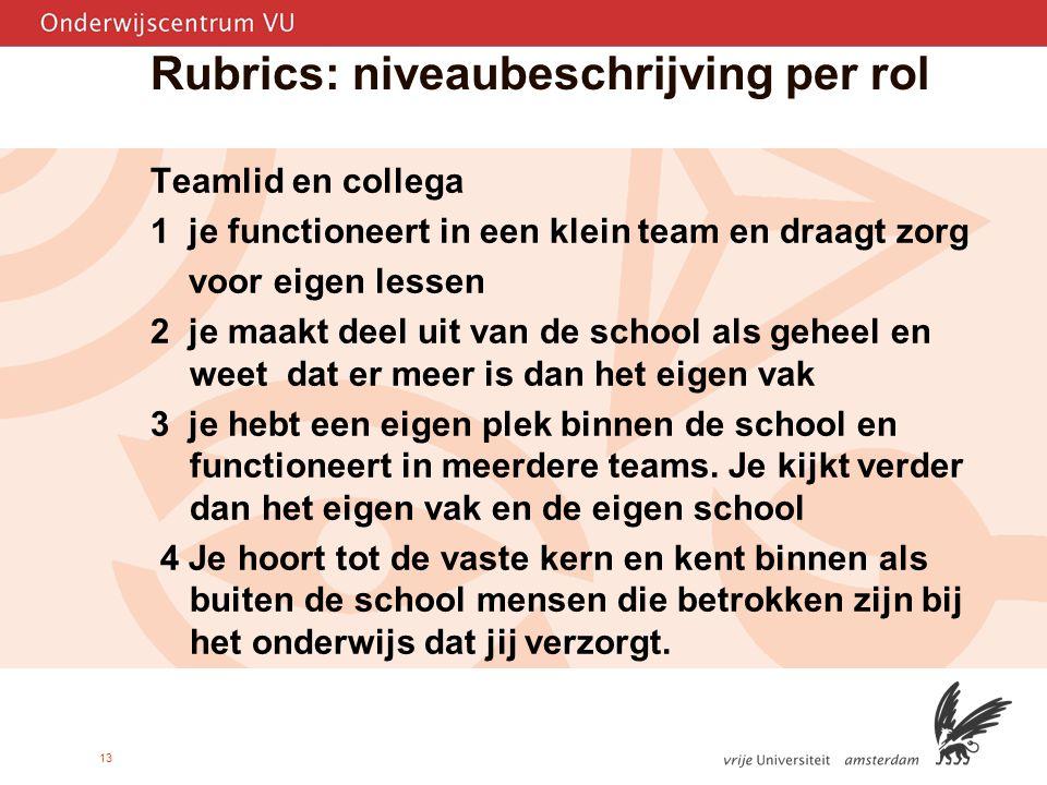 13 Rubrics: niveaubeschrijving per rol Teamlid en collega 1 je functioneert in een klein team en draagt zorg voor eigen lessen 2 je maakt deel uit van de school als geheel en weet dat er meer is dan het eigen vak 3 je hebt een eigen plek binnen de school en functioneert in meerdere teams.