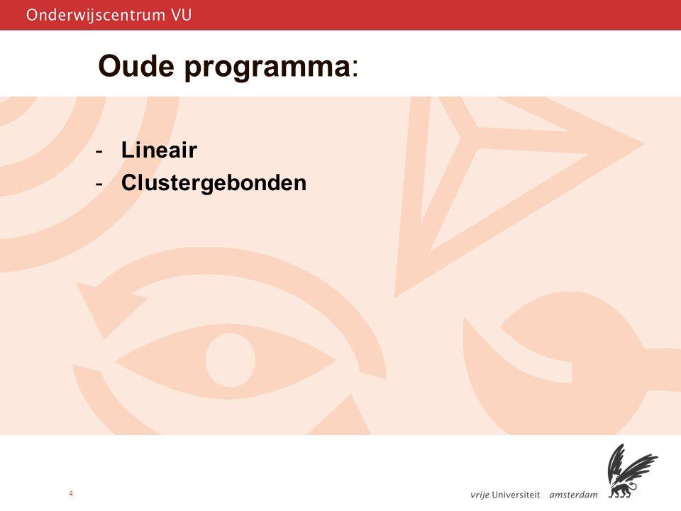 4 Oude programma: -Lineair -Clustergebonden