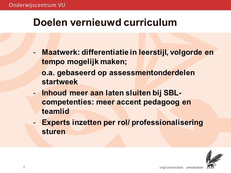 6 Doelen vernieuwd curriculum -Maatwerk: differentiatie in leerstijl, volgorde en tempo mogelijk maken; o.a.