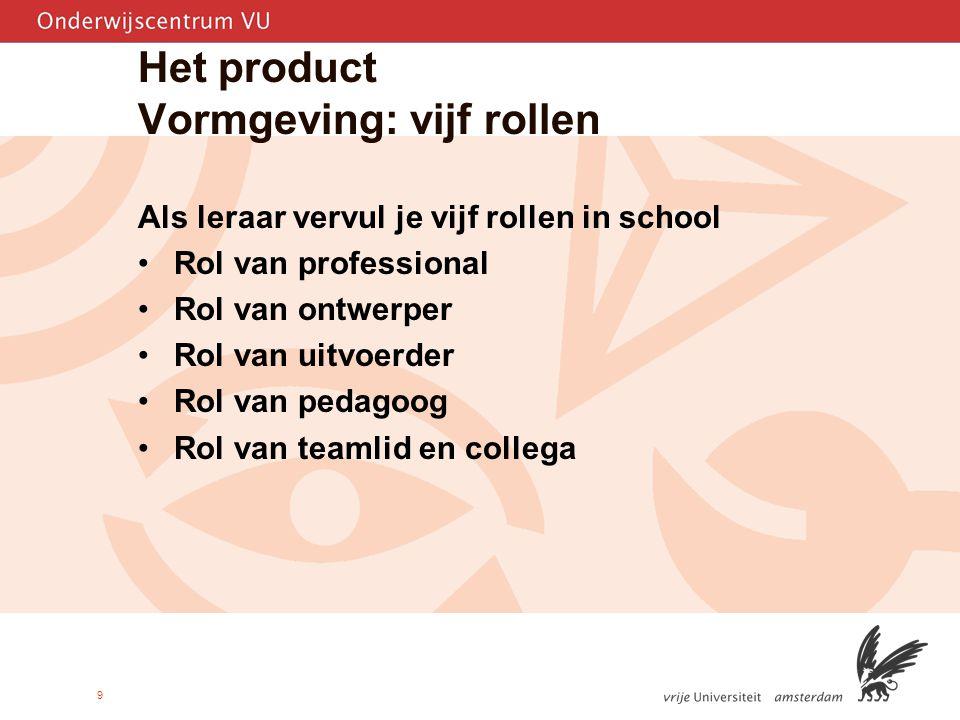 9 Het product Vormgeving: vijf rollen Als leraar vervul je vijf rollen in school Rol van professional Rol van ontwerper Rol van uitvoerder Rol van pedagoog Rol van teamlid en collega