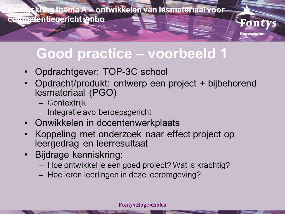 Fontys Hogescholen Kenniskring thema A – ontwikkelen van lesmateriaal voor competentiegericht vmbo Good practice – voorbeeld 1 Opdrachtgever: TOP-3C s