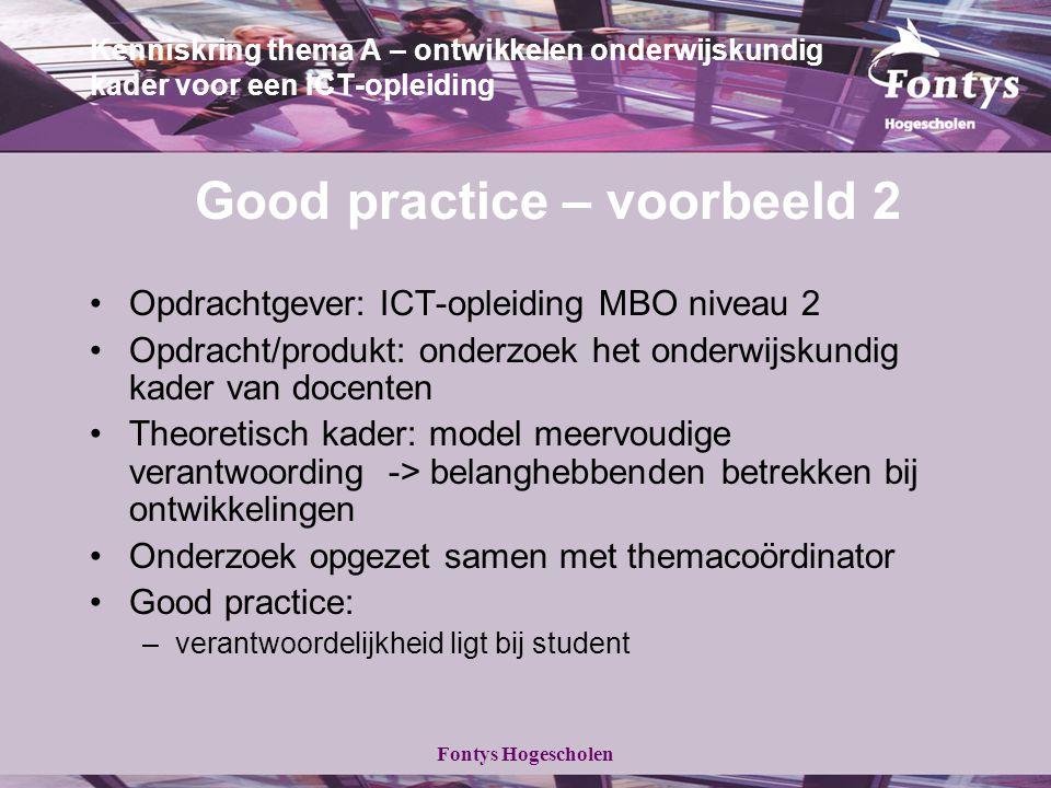 Fontys Hogescholen Kenniskring thema A – ontwikkelen onderwijskundig kader voor een ICT-opleiding Good practice – voorbeeld 2 Opdrachtgever: ICT-oplei