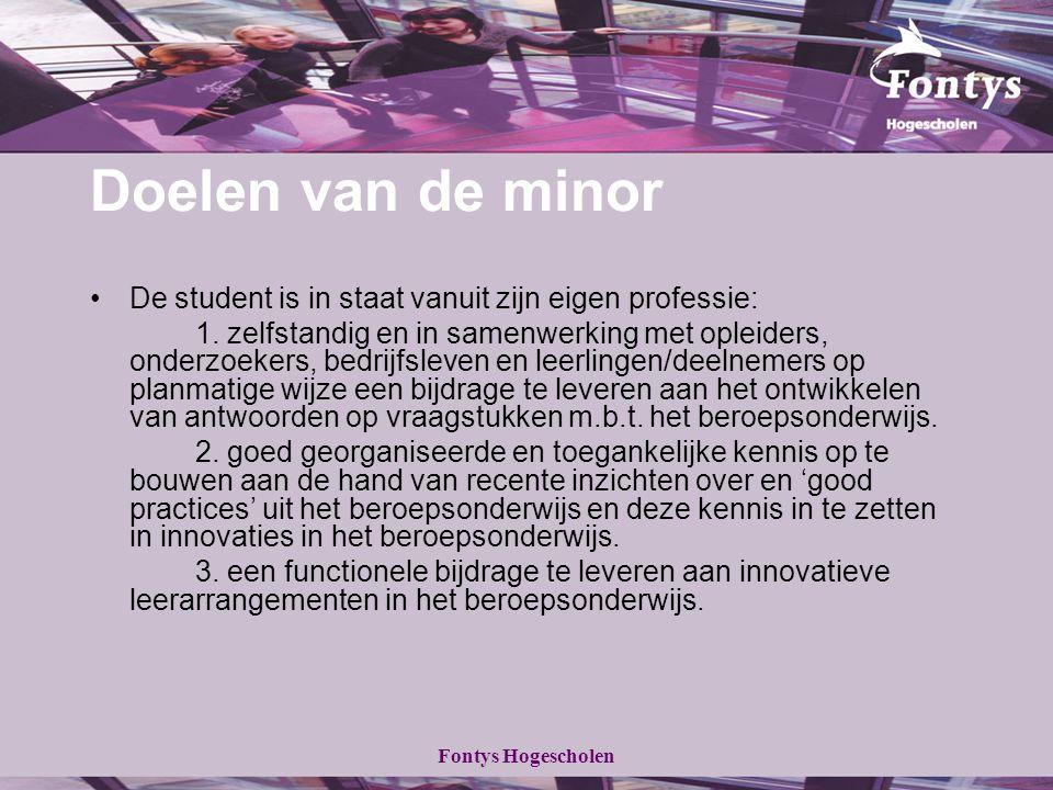 Fontys Hogescholen Doelen van de minor De student is in staat vanuit zijn eigen professie: 1. zelfstandig en in samenwerking met opleiders, onderzoeke