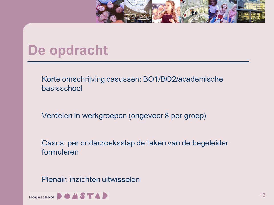 13 De opdracht Korte omschrijving casussen: BO1/BO2/academische basisschool Verdelen in werkgroepen (ongeveer 8 per groep) Casus: per onderzoeksstap d