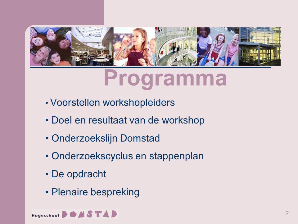 2 Programma Voorstellen workshopleiders Doel en resultaat van de workshop Onderzoekslijn Domstad Onderzoekscyclus en stappenplan De opdracht Plenaire bespreking